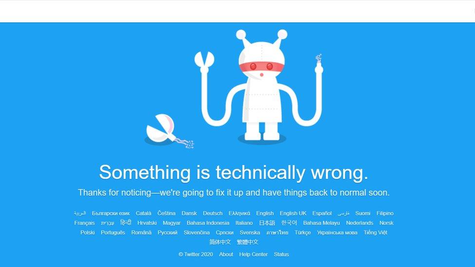 A Twitter error message