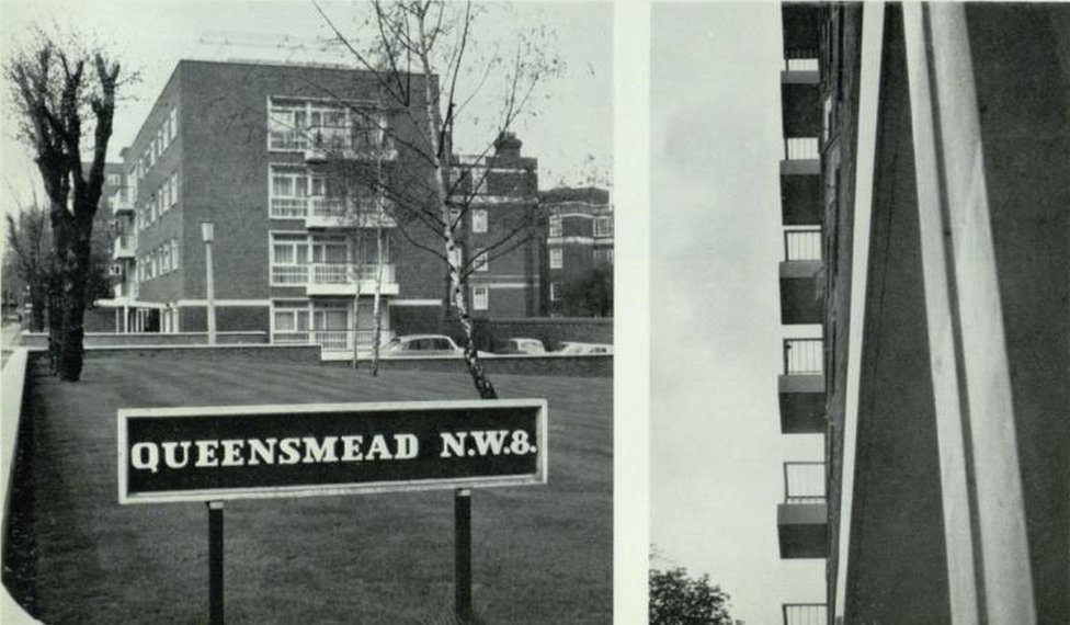 Black and white photo from the Queensmead estate in north London