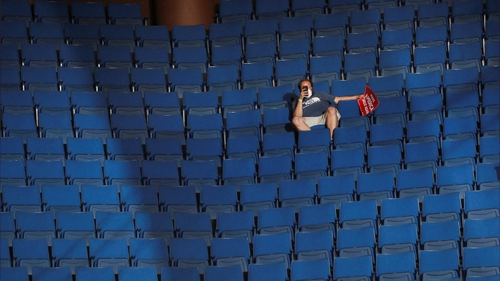 A supporter of Donald Trump at the BOK Center in Tulsa, Oklahoma,, June 20, 2020.