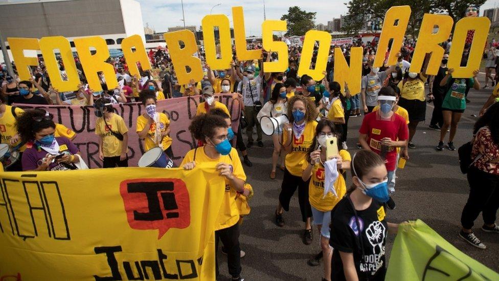 Protesta en Brasilia, Brasil, 29 de mayo de 2021