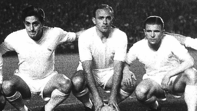 Real Madrid Legend Alfredo Di Stefano (centre) pictured alongside Jose Hector Rial Laguia and Ferenc Puskas.