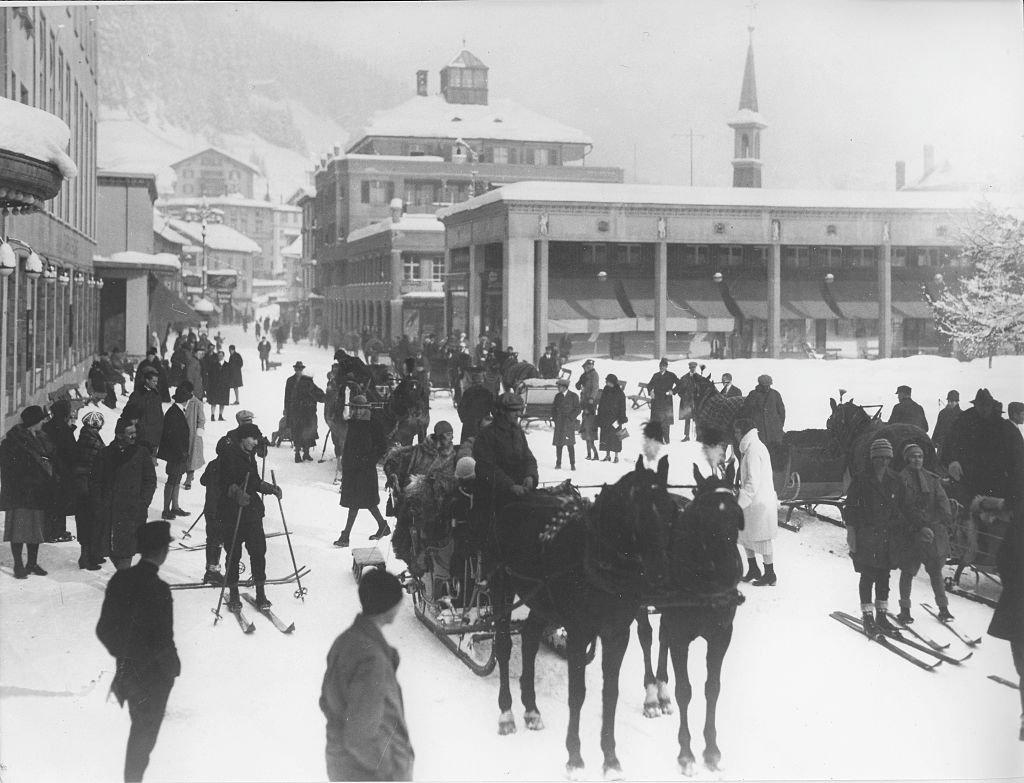 Una calle de Davos en 1920