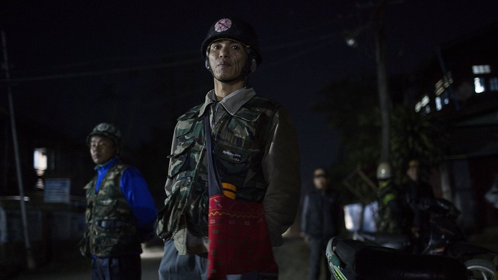 Pat Jasan members rally at a designated point while on patrol on 26 January 2016 in Myitkyina, Kachin state.