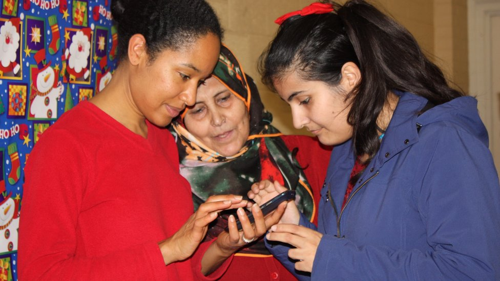 Jaya James (left) with Gaziye Fettah and Rojin Haci, who were sponsored by Jim Estill and the Muslim Society of Guelph