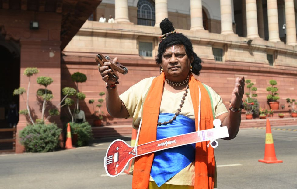 Mr Sivaprasad attends parliament dressed as Narad, a Hindu mythological character on 28 March 2018 in Delhi.