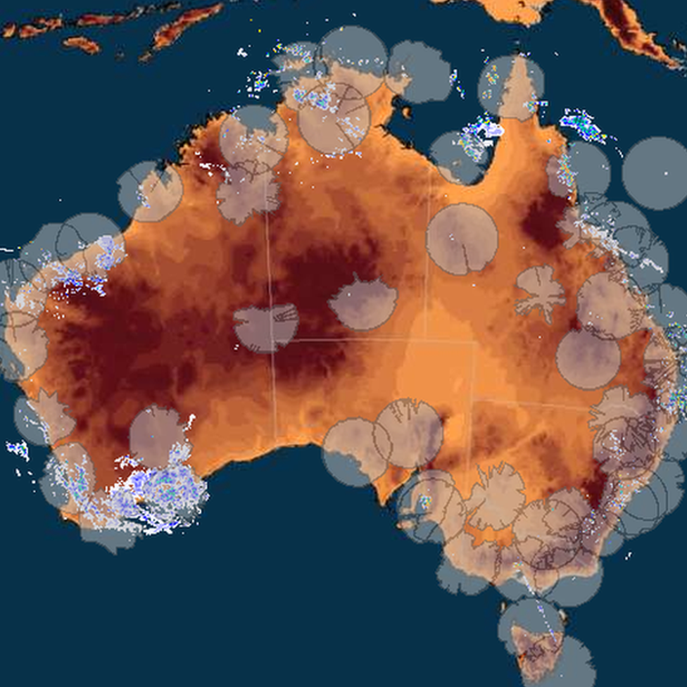 A radar image of Australia supplied by the Australian Bureau of Meteorology