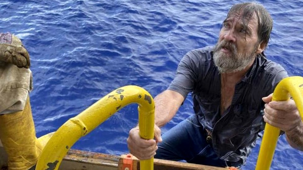 Stuart Bee, 62, was rescued by a passing container ship on Sunday