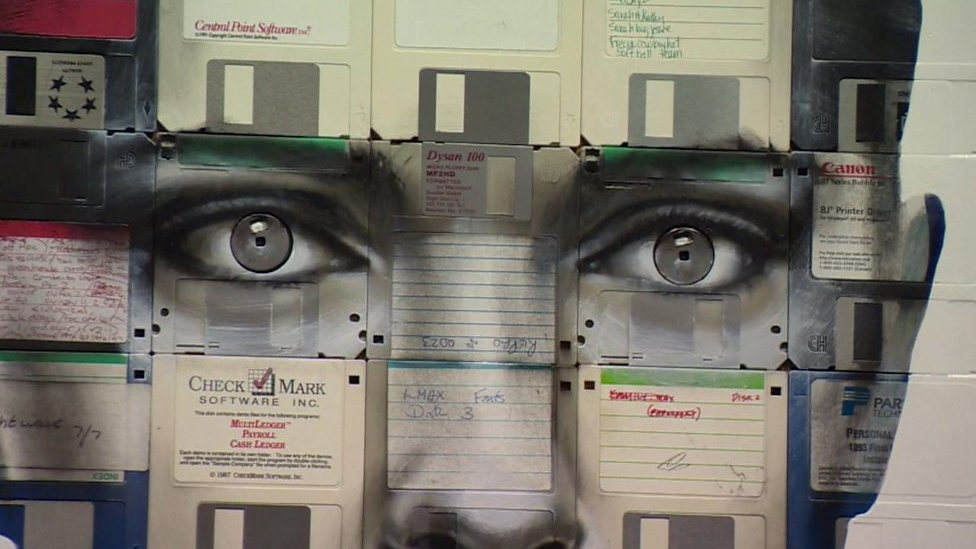 Obsolete floppy disks and VHS tapes turned into art