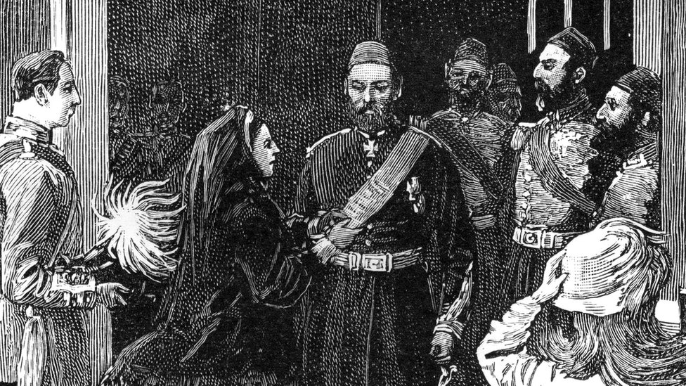 Queen Victoria investing Abdul Aziz, Sultan of Turkey, with the order of the Garter, 1867