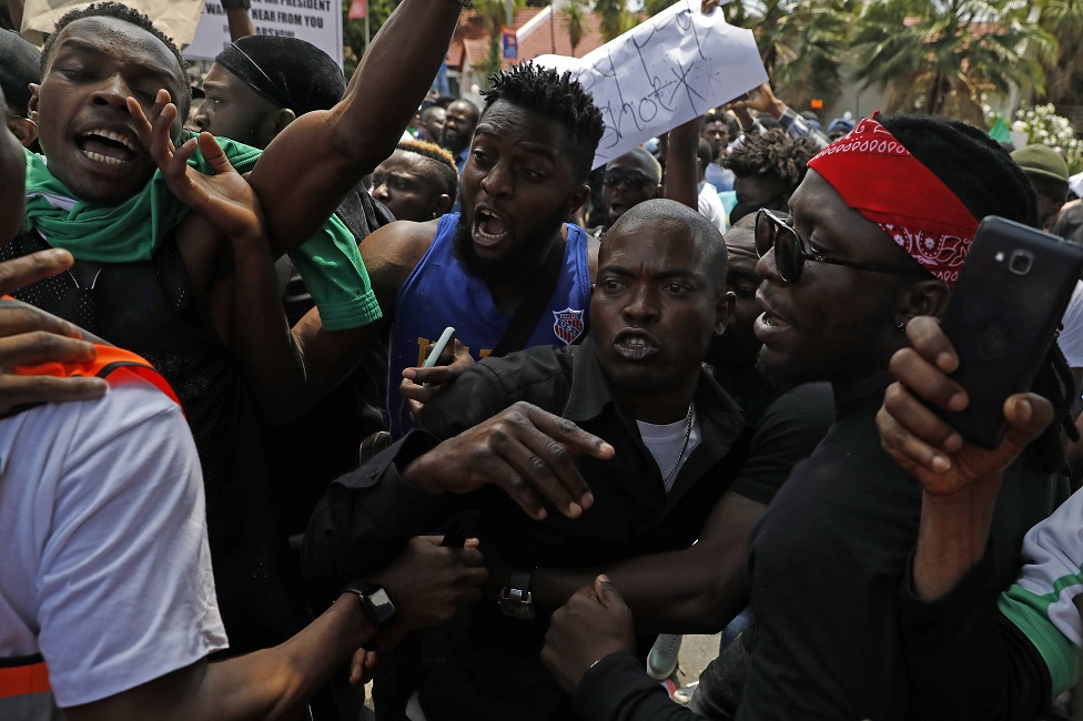 Protests outside the Nigerian embassy in Pretoria