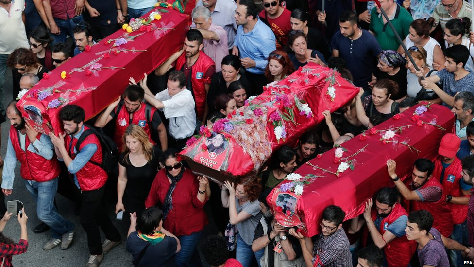 Funerals held for some of the victims of the Suruc massacre, in Istanbul, on 22 July 2015