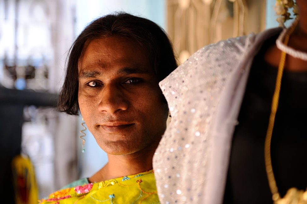 The Hijra community of Mumbai in Andheri (surbub of Mumbai), Indian hijras, or eunuchs, adopt a feminine gender identity, women's clothing and other feminine gender roles on March 15, 2012