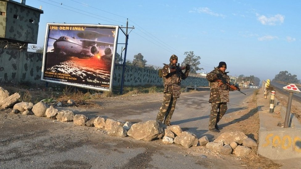 Indian security personal stands outside the Air Force base in Pathankot, India, 05 January 2016, following an encounter with militants on 04 January