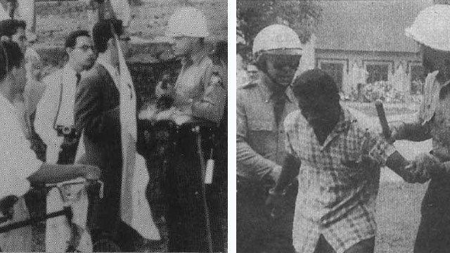 Ricardo Ríos Torres durante la Marcha Patriótica de 1959 en Panamá.