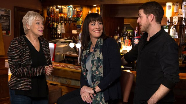 Boy Meets Girl stars Denise Welch (left), Rebecca Root (centre) and Harry Hepple