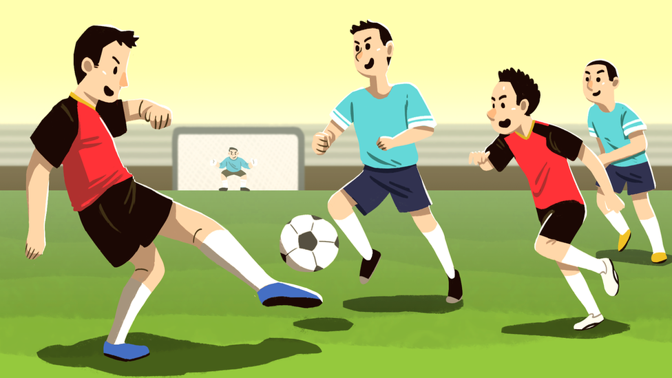 Illustration of the boys playing football