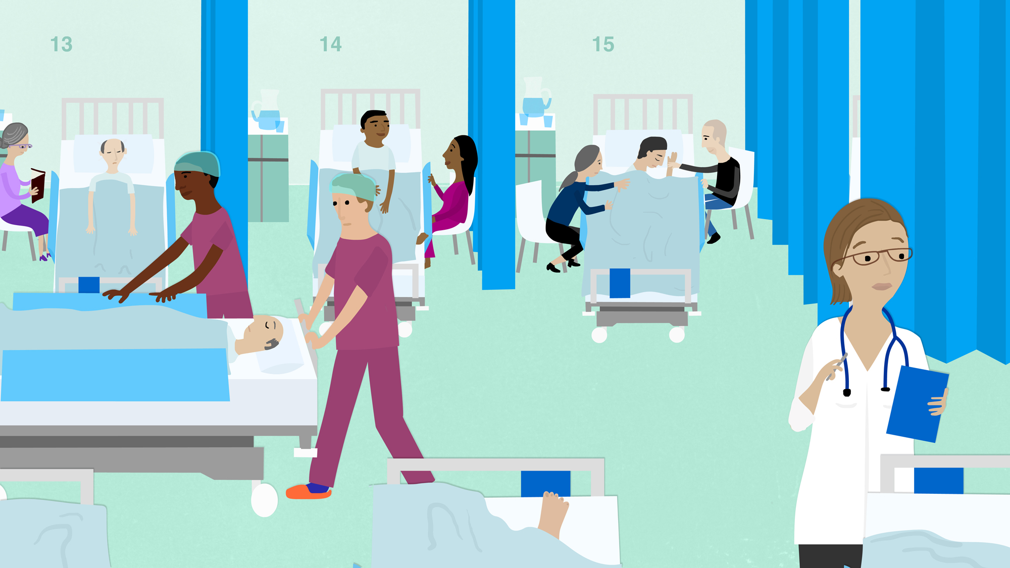 Cartoon of a busy hospital ward