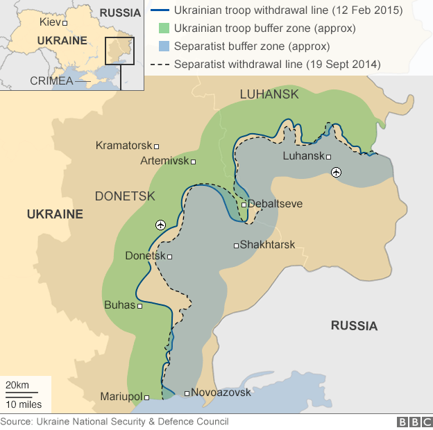 Map showing ceasefire lines