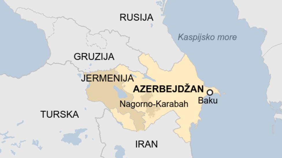 Azerbejdžan, Jermenija, mapa