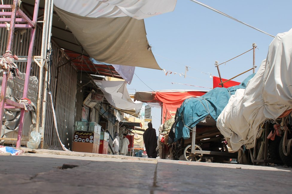 A view of a closed market in Mazar-e-Sharif, the provincial capital of Balkh province, Afghanistan, 14 August 2021.