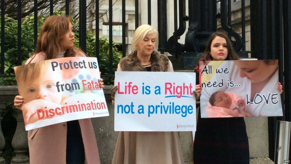 Anti-abortion campaigners protested outside court