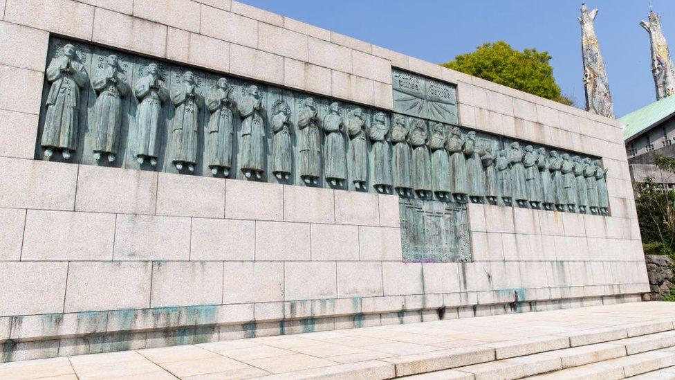 Este mausoleo recuerda a los mártires cristianos de Japón.