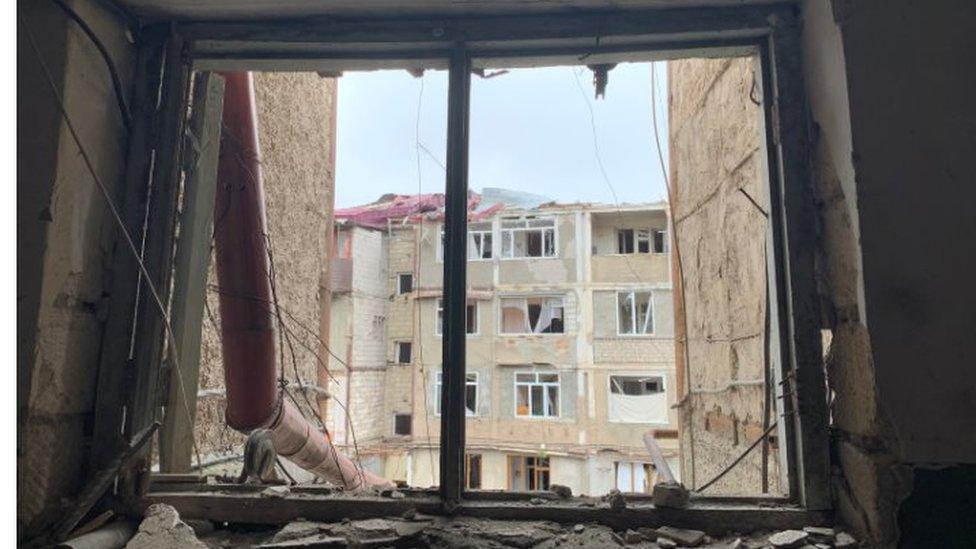 斯捷潘納克特一處被炮彈炸毀的民居(10/2020)
