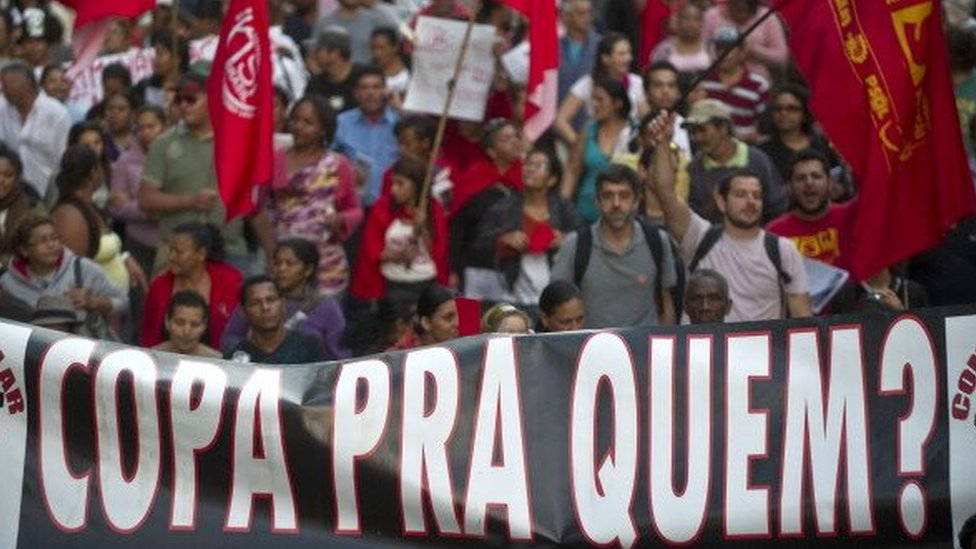 Demonstrators protest against the government's expenditure policy for the 2014 FIFA World Cup, on June 14, 2013 in Sao Paulo, Brazil.