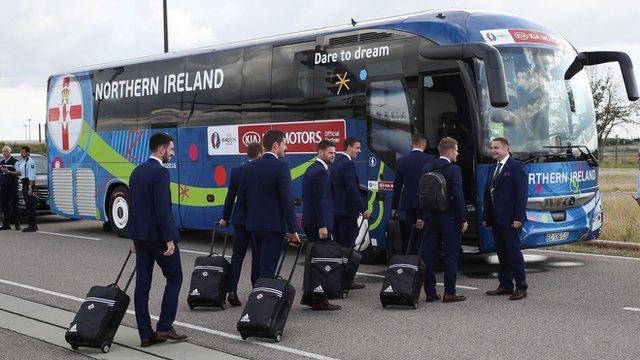 Members of the Northern Ireland team arriving in France