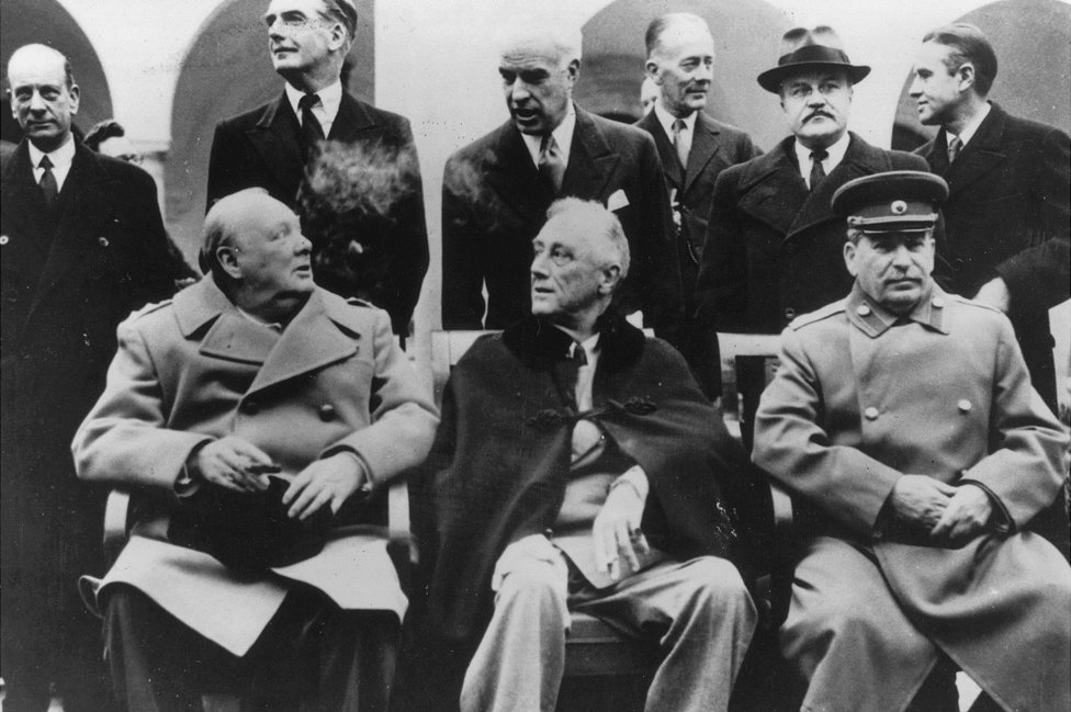 L-R: Winston Churchill, Franklin Delano Roosevelt and Joseph Stalin, Yalta, 8 Feb 45