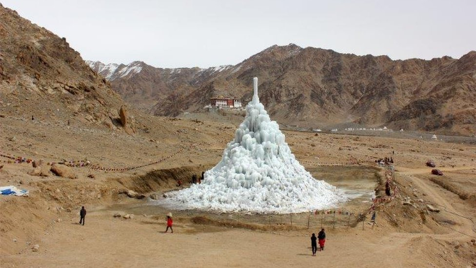 In late spring, the melting ice stupa provides water for the crops
