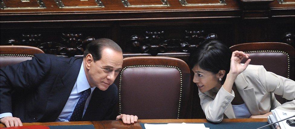 Silvio Berlusconi with Mara Carfagna, 14 May 08
