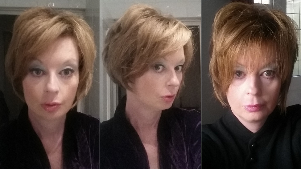 Three selfies of Lauren Harries
