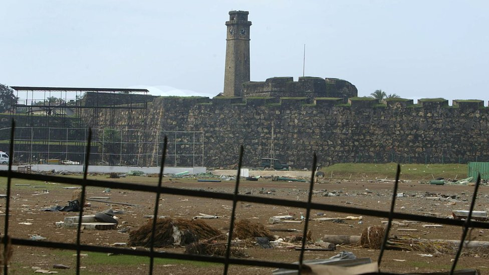 Galle cricket stadium in Galle which is demolished by the tsunami disaster.