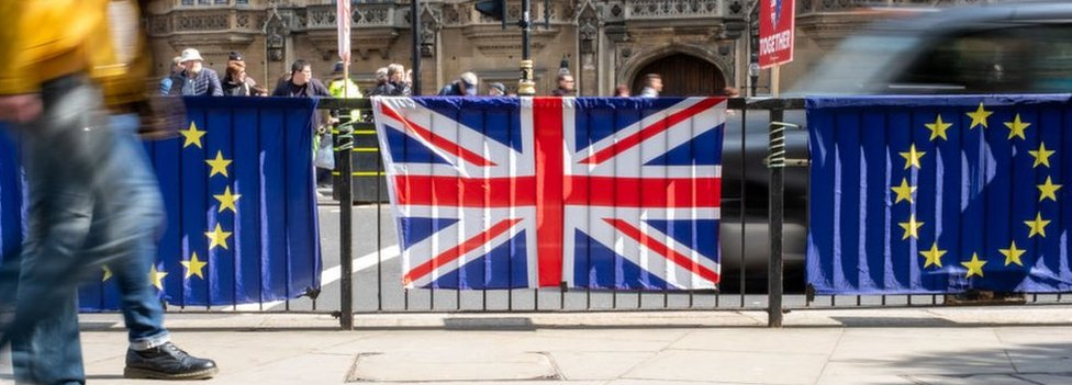 Flags outside parliament