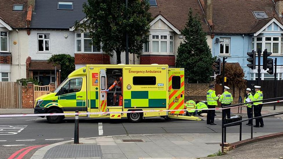 The accident scene on the Upper Richmond Road in London