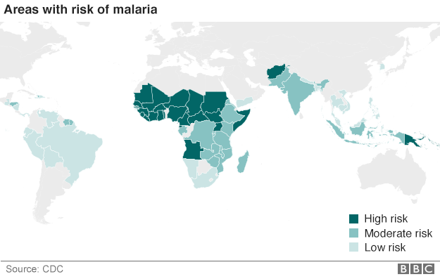 Map outlining areas at high, moderate and low risk from malaria