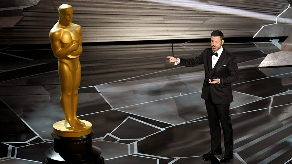 Jimmy Kimmel at the 90th ceremony on stage