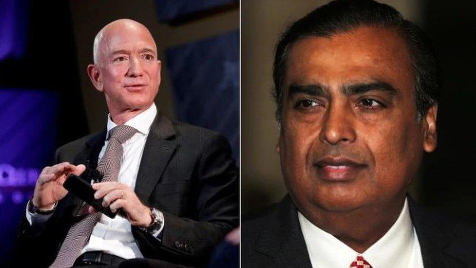 Jeff Bezos ve Mukesh Ambani