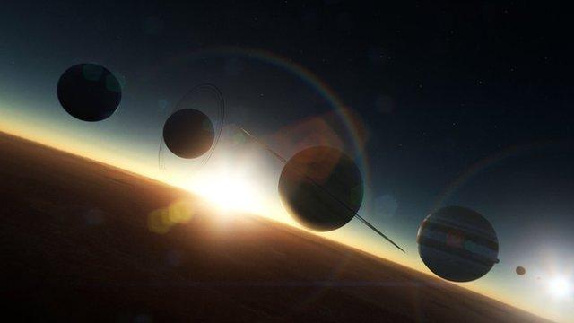 CGI image of solar system