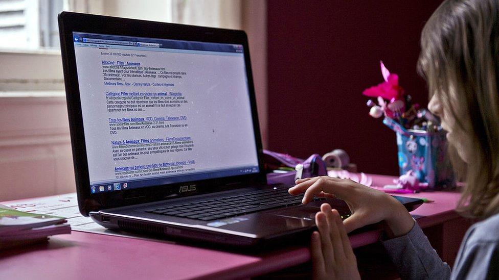 Girl using computer