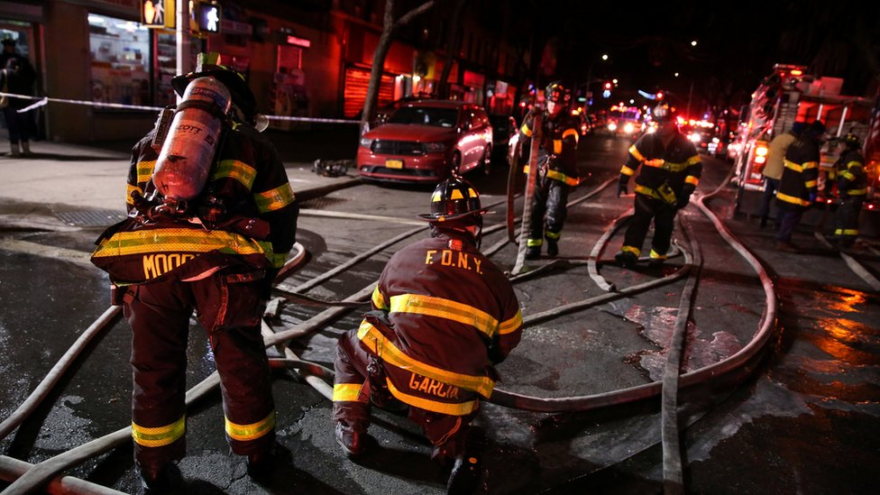 New York Fire Department at a fire in the Bronx borough of New York City, on 28 December 2017