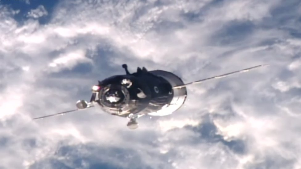 The Soyuz space capsule preparing to dock with the International Space Station