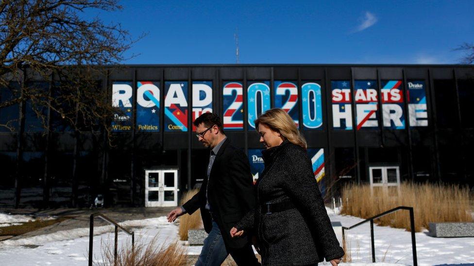 Preparación del caucus electoral en Iowa.