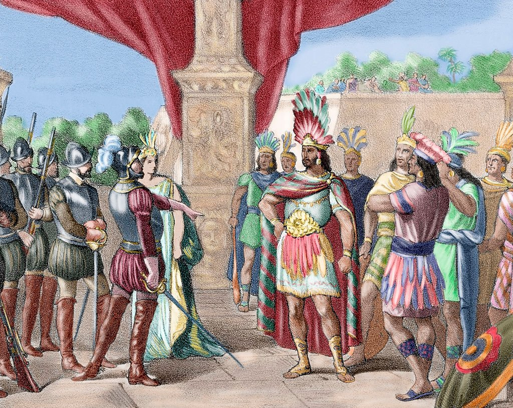 Ilustración de Moctezuma Xocoyotzin en su encuentro con Hernán Cortés