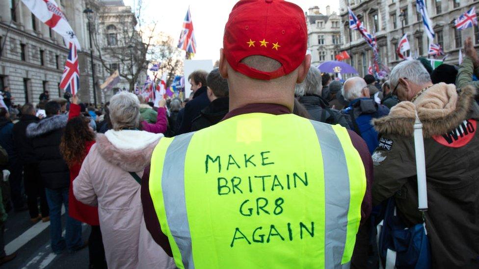 Pro-Leave protestors in London in December 2018