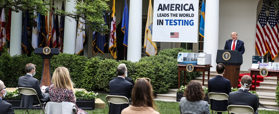 President Trump at a briefing on coronavirus testing in the Rose Garden of the White House - 11 May 2020