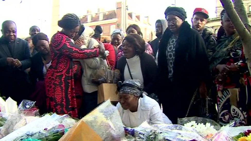 Mourners gather at location where Baptista Adjei was fatally stabbed