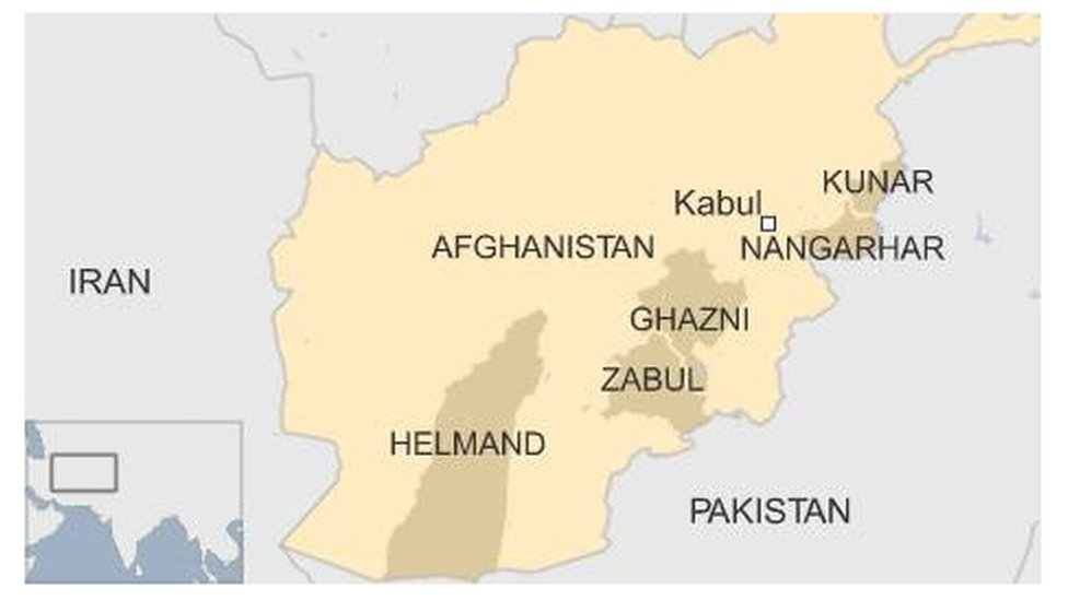 Map of Afghanistan showing various provinces