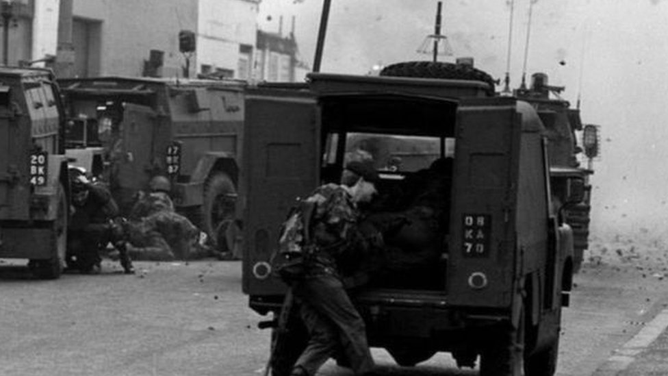 Soldiers in Northern Ireland pictured during the Troubles